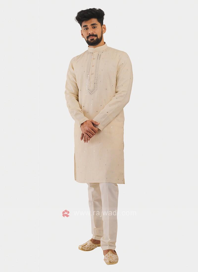 Linen Kurta Pajama In Cream
