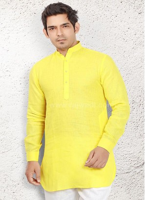 Linen kurta with Fancy Button
