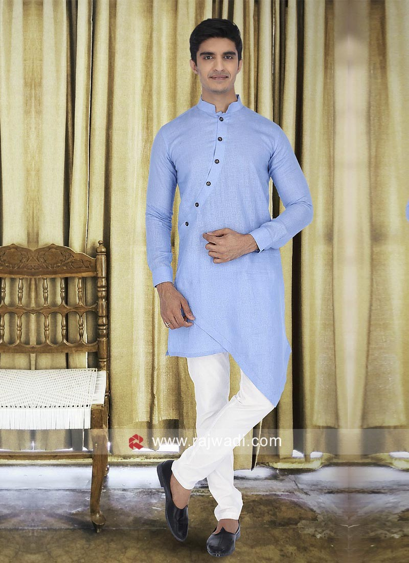Linen Light Blue Color Kurta Set