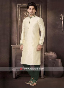 Art Silk Fabric Cream Kurta Pajama