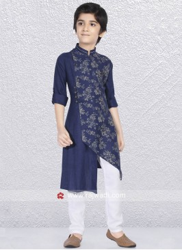 Linen Cotton Navy Kurta Pajama
