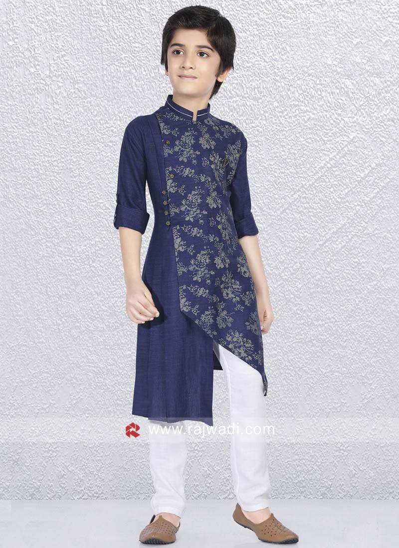 Linen Cotton Navy Kurta Pajama