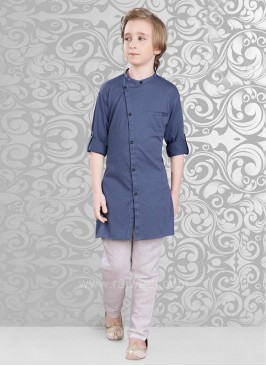 Art Silk Material Royal Blue Color Kurta Set