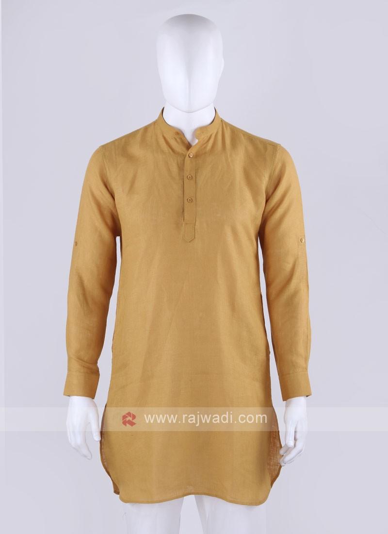 linen mustard yellow kurta