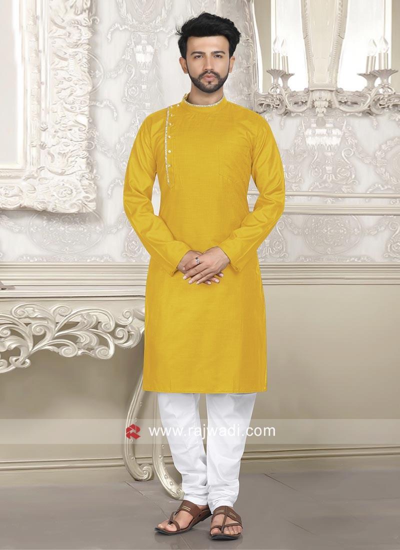 Linen Musterd Yellow Kurta Pajama