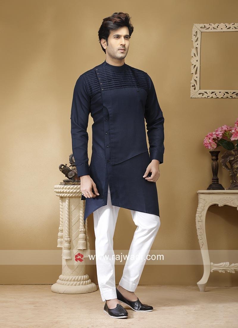 Linen Navy Pathani Suit