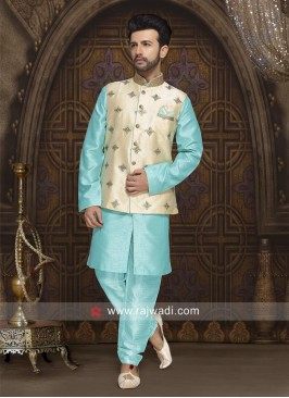 Charming Aqua Color Nehru Jacket