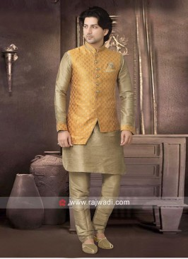 Stylish Brocade Silk Nehru Jacket for Party
