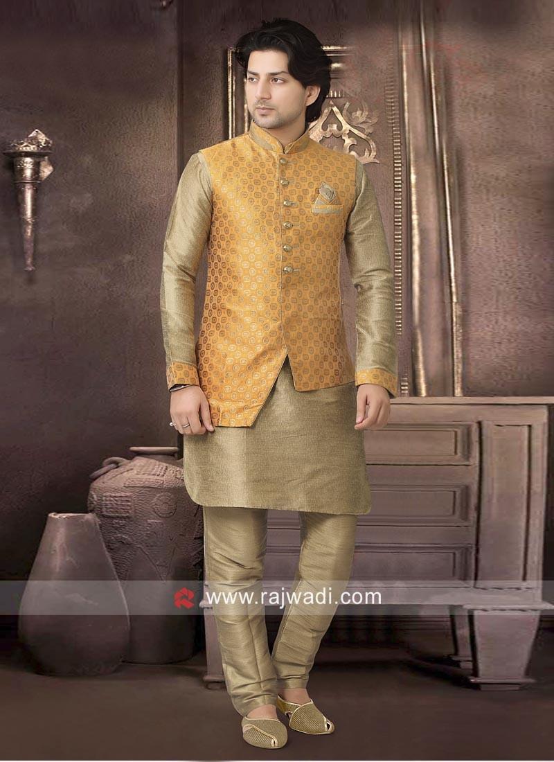 Stylish Brocade Silk Nehru Jacket for Party
