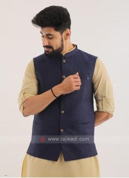 Linen Nehru Jacket In Blue