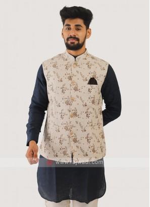 Linen Nehru Jacket In Cream