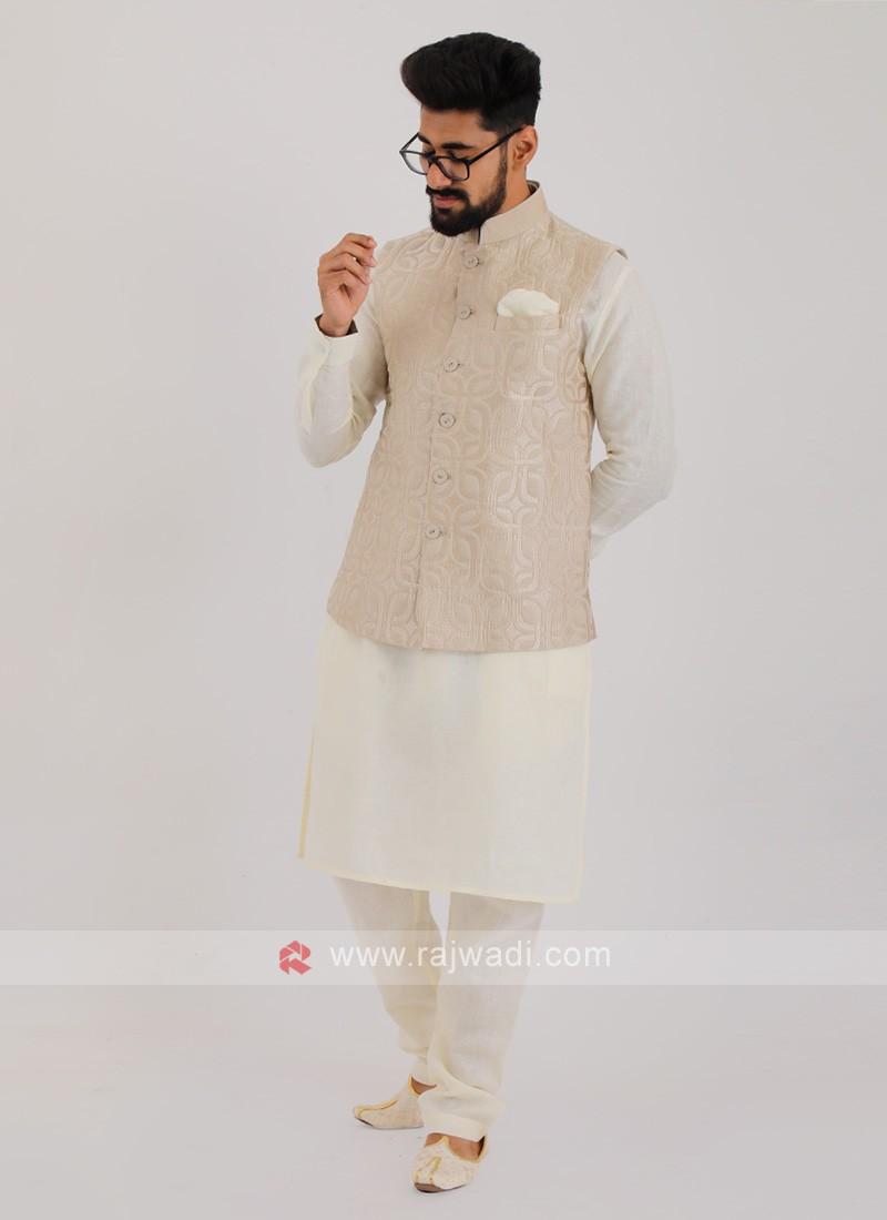 Linen Nehru Jacket Suit For Men