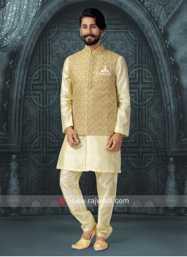 Silk Nehru Jacket with Fancy Button