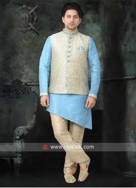 Brocade Silk Nehru Jacket with Fancy Button