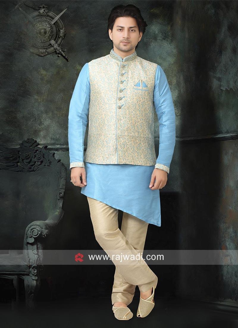 Brocade Silk Nehru Jacket with Fancy Button