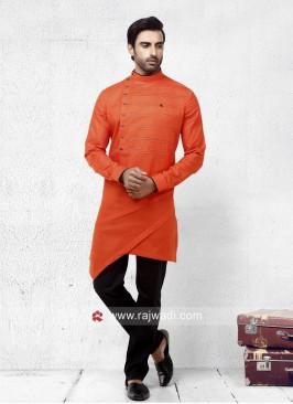 Linen Orange Pathani Suit
