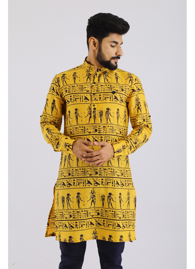 Linen Printed Kurta In Yellow