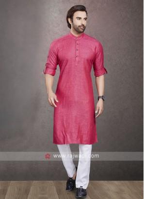Linen Rani Color  Kurta Pajama