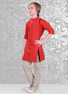 Linen Red Color Kurta Pajama
