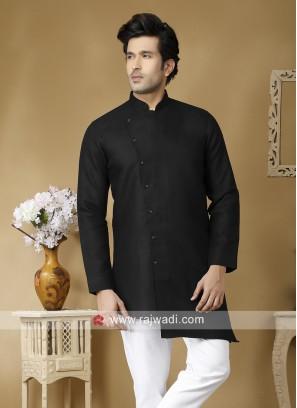 Black Linen Fabric Kurta
