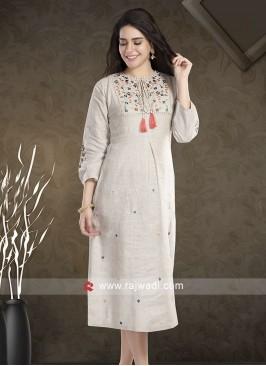 Linen Resham Work Kurti