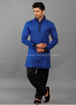 Linen Royal Blue Kurta Pajama