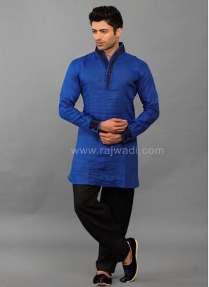 Linen Royal Blue Kurta Pajama
