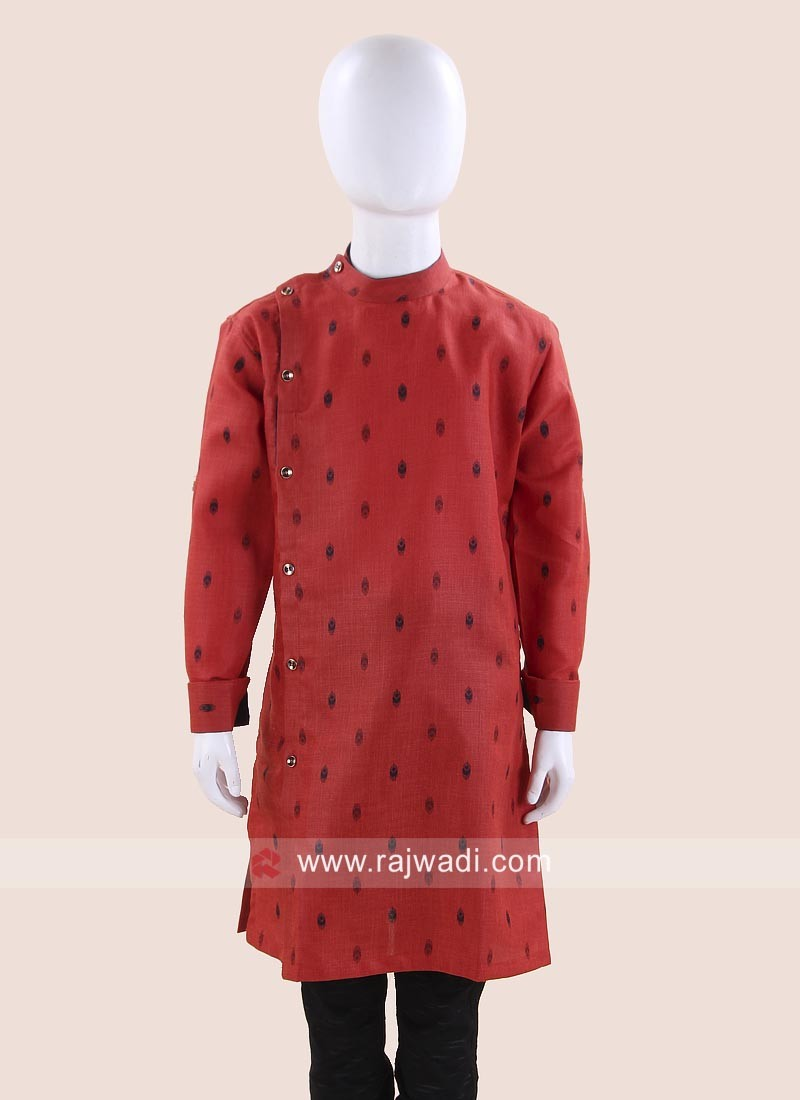 Linen Rust Color Kurta
