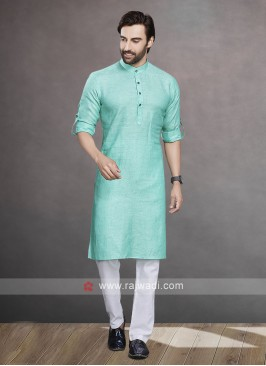 Linen Sea Green Color Kurta Pajama