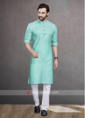 Linen Sea Green Color Kurta Pajama