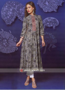 Linen Silk Printed Kurti