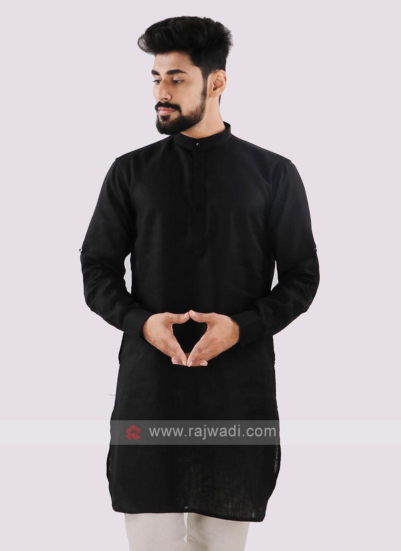 Linen Solid Black Kurta
