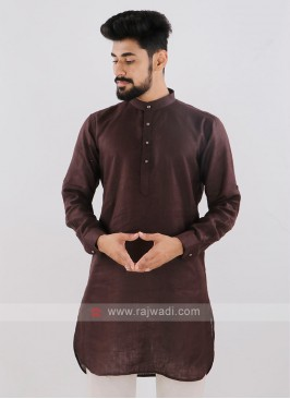 Linen Solid Brown Kurta