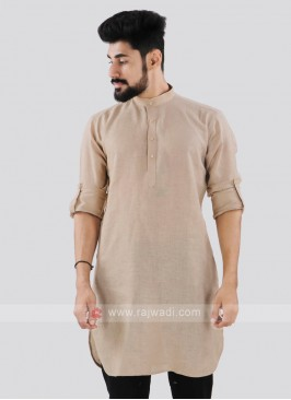 Linen Solid Cream Kurta
