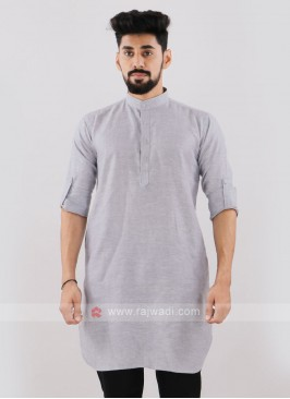 Linen Solid Grey Kurta