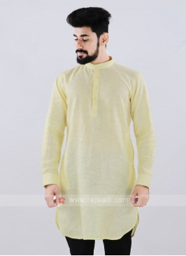 Linen Solid Lemon Yellow Kurta