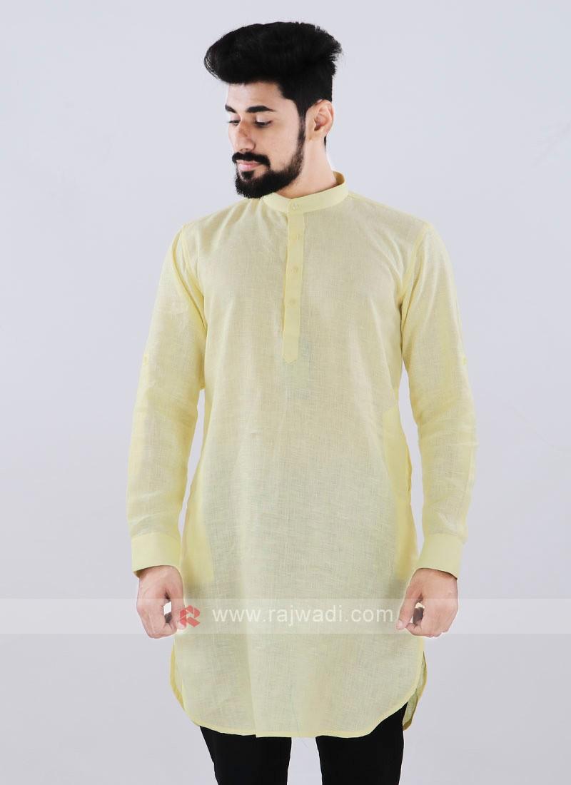 Linen Solid Lemon Yellow Kurta