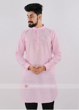Linen Solid Light Pink Kurta