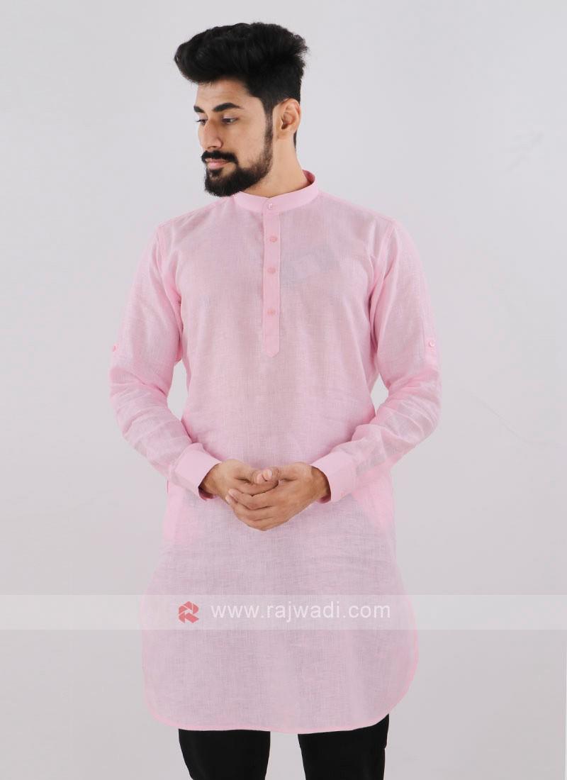 Linen Solid Light Pink Kurta
