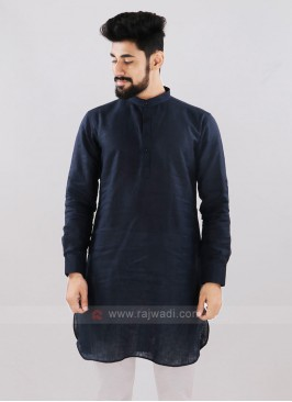 Linen Solid Navy Blue Kurta