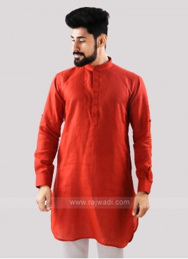 Linen Solid Orange Kurta