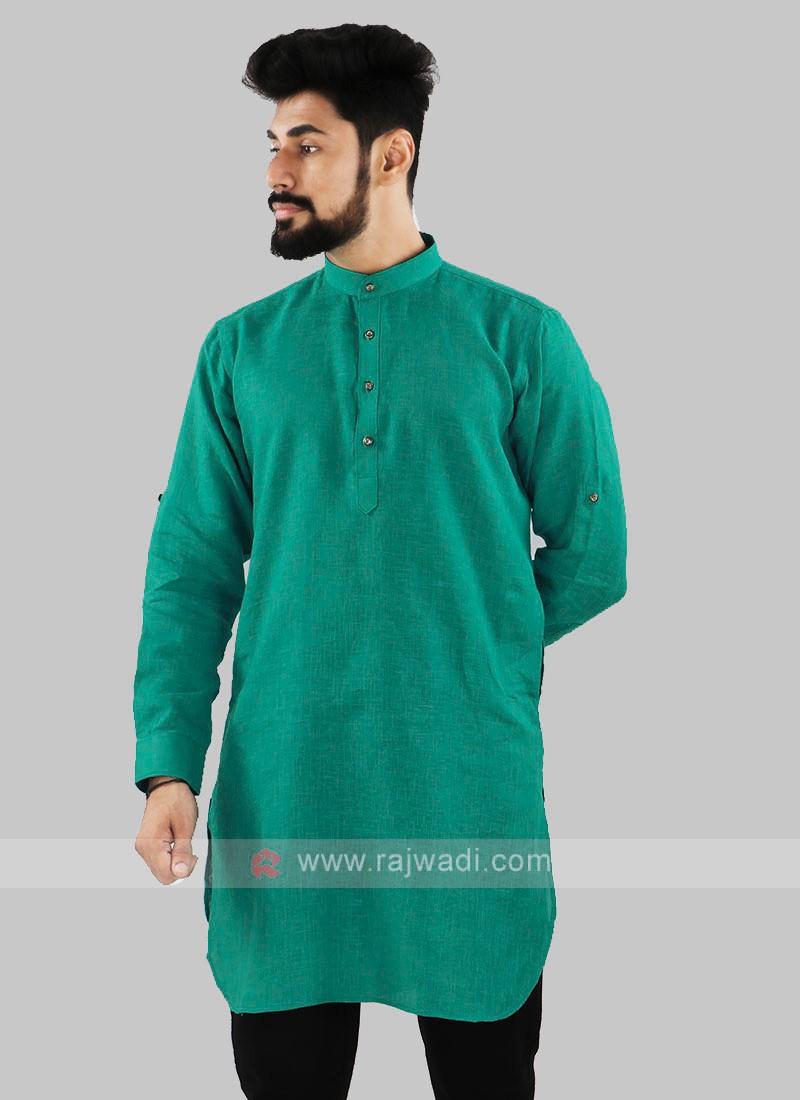 Linen Solid Rama Green Kurta
