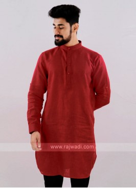 Linen Solid Red Kurta