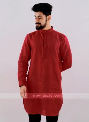 Linen Solid Red Kurta