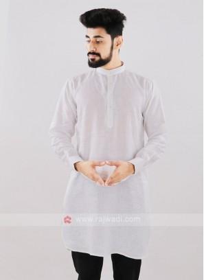 Linen Solid White Kurta