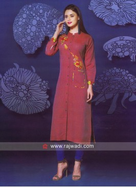 Linen Thread Work Kurti