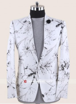 Linen White Color Blazer For Party