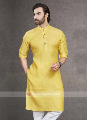Linen Yellow Color Kurta