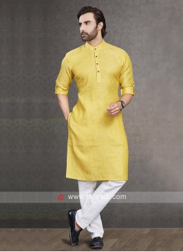 Linen Yellow Color  Kurta Pajama