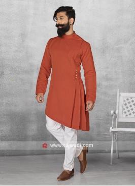 Satin Fabric Rust Pathani Suit